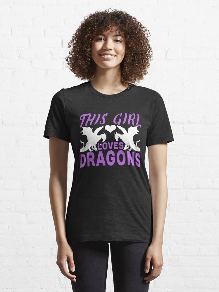 Alternate view of This Girl Loves Dragons Graphic T-Shirt Essential T-Shirt