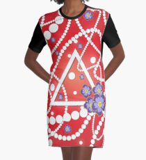 Crimson and Pearls Graphic T-Shirt Dress