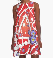 Crimson and Pearls A-Line Dress
