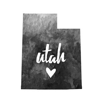 Utah - grey watercolor by gracehertlein
