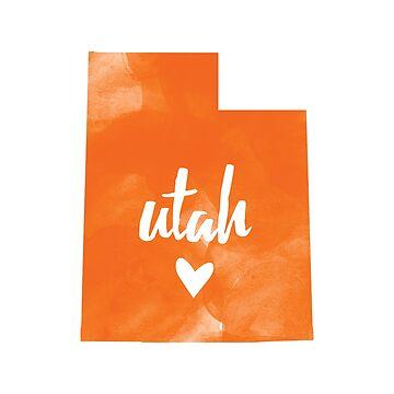 Utah - orange watercolor by gracehertlein