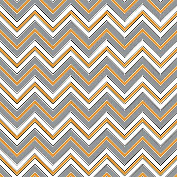Chevron Pattern | Zig Zags | Orange, Grey, Black and White by EclecticAtHeART
