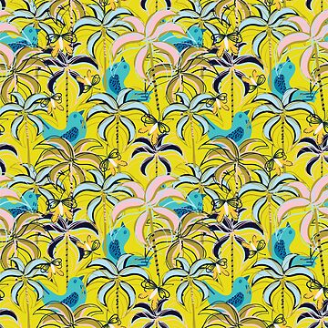 Tropical Dream with Pink, blue and Golden Palm Trees by Jime-Creates