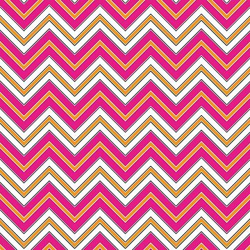 Chevron Pattern | Zig Zags | Pink, Orange, Black and White by EclecticAtHeART