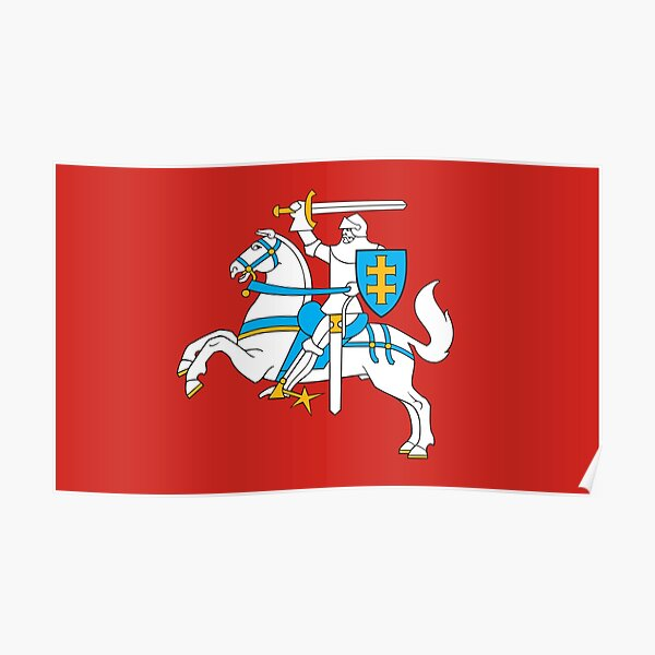 State Flag of Lithuania Knight On Red Poster