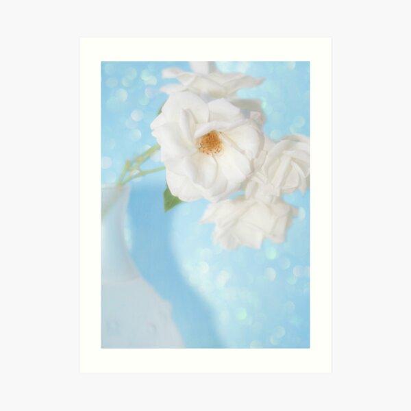 """""""Whispery White Roses on Blue"""" Art Print"""