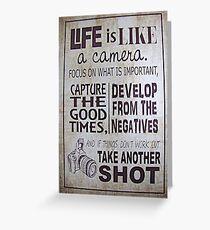 """""""Das Leben ist wie eine Kamera"""" Grußkarte"""