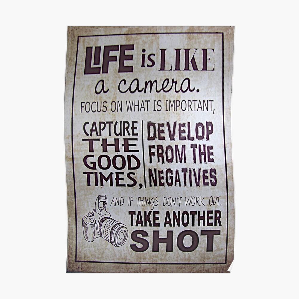 """""""Das Leben ist wie eine Kamera"""" Poster"""