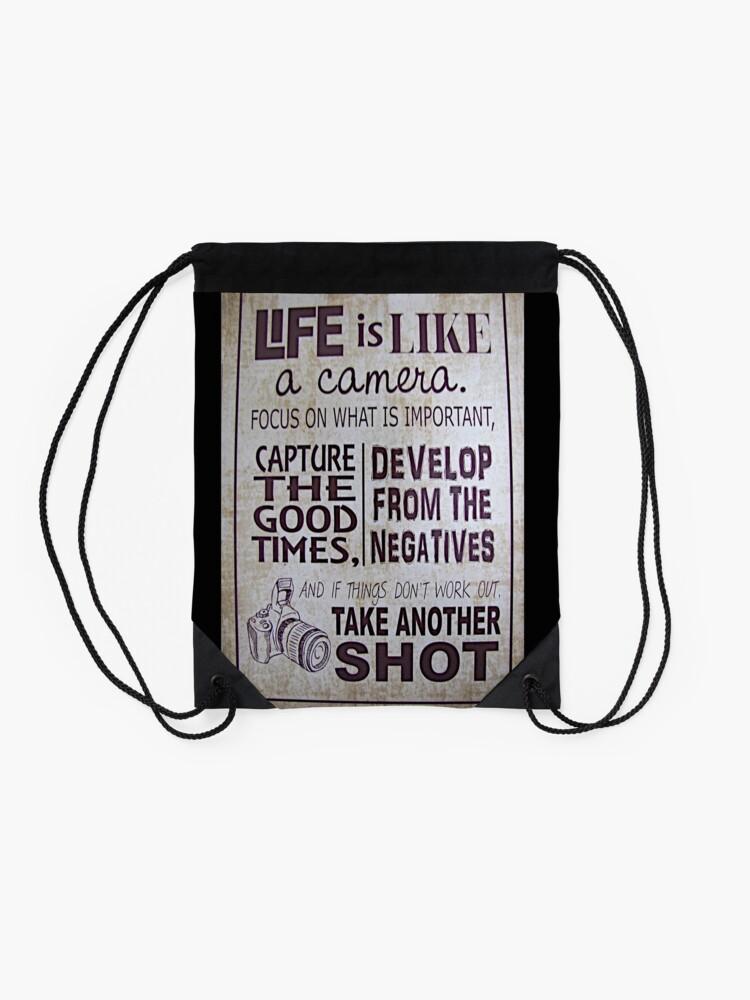 """Alternative Ansicht von """"Das Leben ist wie eine Kamera"""" Turnbeutel"""