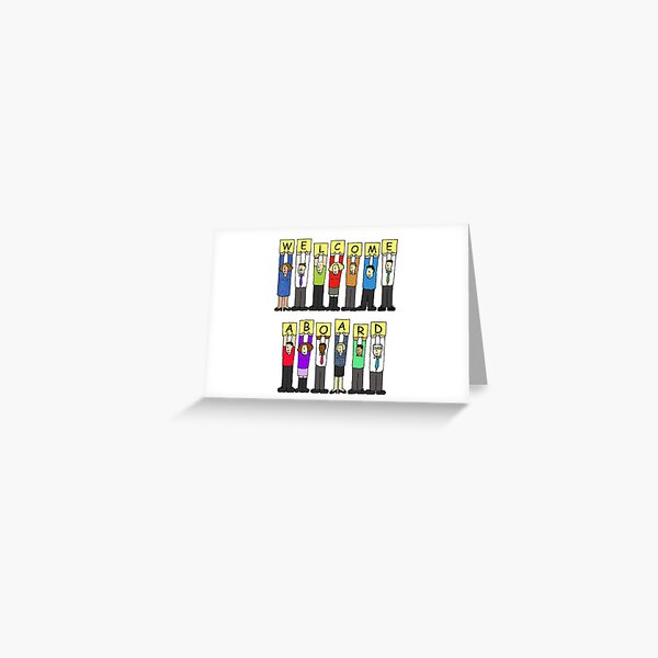 Welcome Aboard to the Team Caroon Group of Diverse People with a Banner Greeting Card