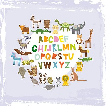 back to school. alphabet for kids from A to Z. funny cartoon animals by EkaterinaP