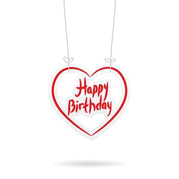 Happy birthday. red paper heart on White background. by EkaterinaP