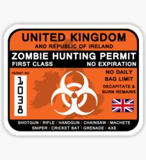 Zombie Hunting Permit - UK and ROI Sticker