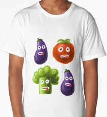 Tomato Broccoli and Eggplant Funny Cartoon Vegetables Long T-Shirt