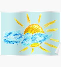 Hand Drawn Sun and Clouds Poster