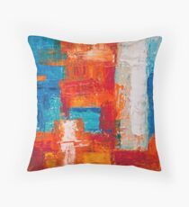 Abstract painting with colorful wide paint brush strokes red, orange, blue, turquoise and white Throw Pillow