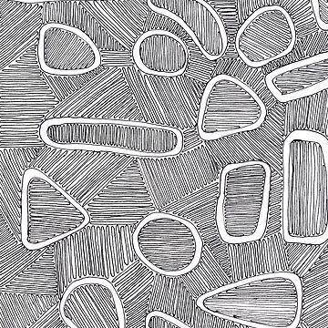 Stripey Large Amoeba Doodle by ladymalchav