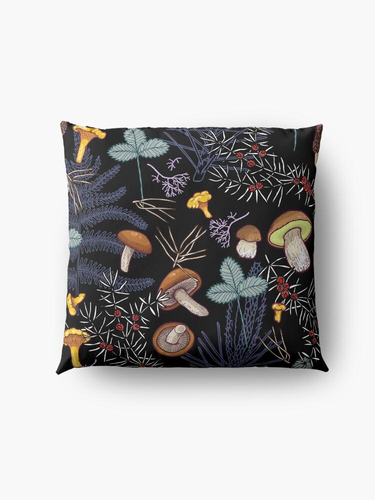 Alternate view of dark wild forest mushrooms Floor Pillow
