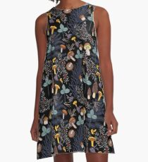 dark wild forest mushrooms A-Line Dress