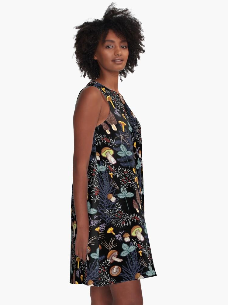 Alternate view of dark wild forest mushrooms A-Line Dress