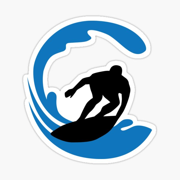surfer and waves Sticker
