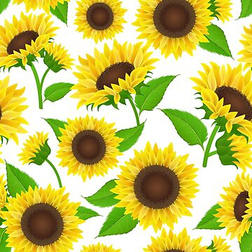 Sunflower seamless pattern with leaf by creaschon