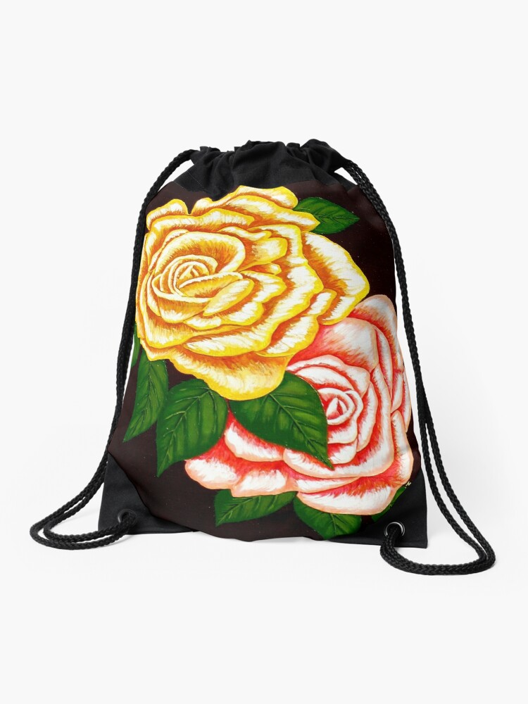 Two Roses Original Signed Acrylic Painting On Canvas Drawstring Bag