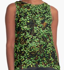 Texture vines with brick wall red bricks climbing green jungle vines and wild plants vintage eroded grunge style urban pattern Contrast Tank