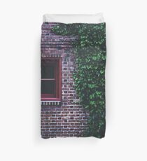 Texture Brick wall red bricks with climbing green vines wild plants and rustic red wooden window vintage grunge style urban pattern Duvet Cover