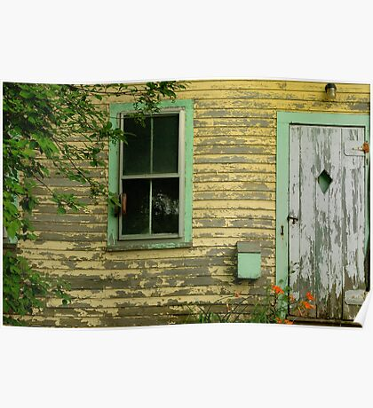 Window and door, abandoned house, South Thomaston, Maine Poster