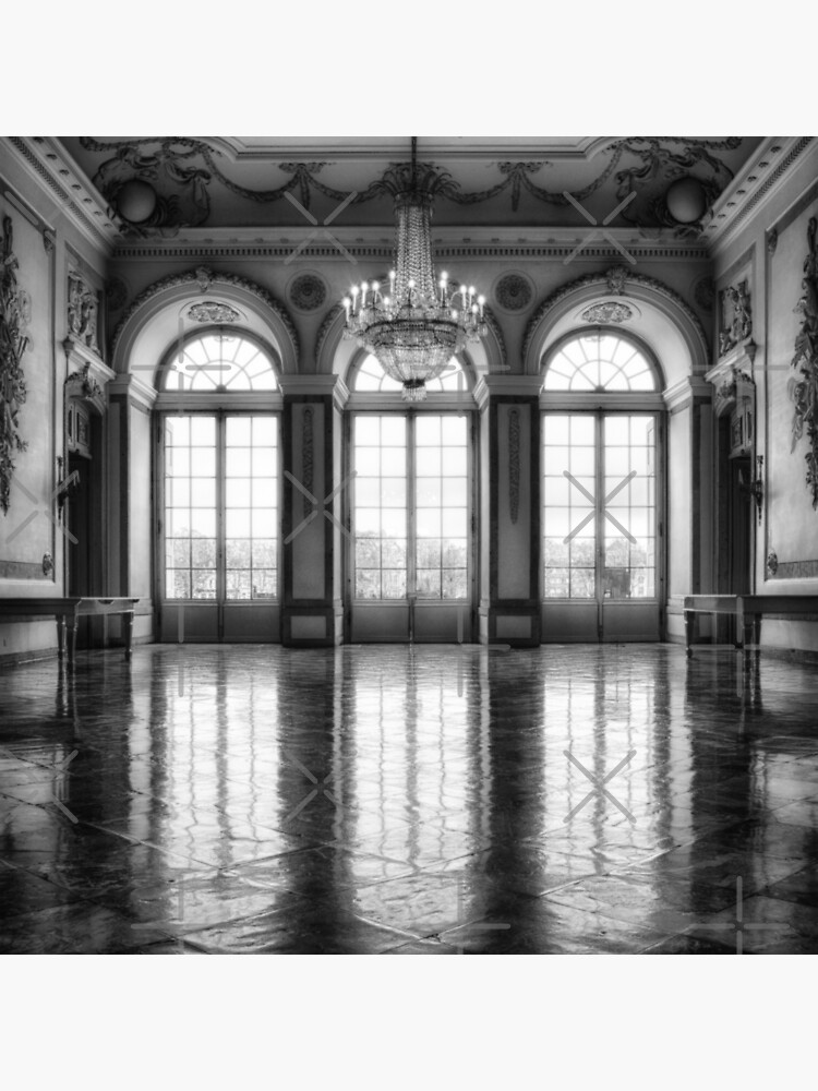 Castle medieval ballroom with high elegant gothic arch windows and royal decoration photo in grayscale by iresist