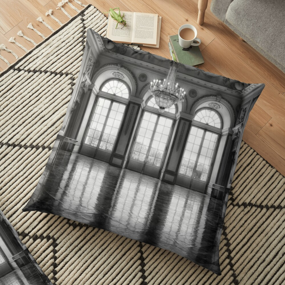 Castle medieval ballroom with high elegant gothic arch windows and royal decoration photo in grayscale Floor Pillow