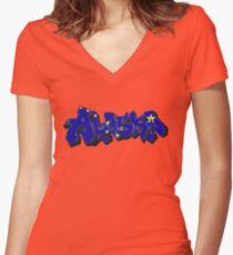 Alaska Flag Graffiti (Graffiti Muscle) Women's Fitted V-Neck T-Shirt