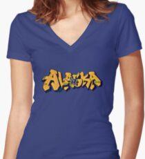 Alaska License Plate (Alaska Flag) by Graffiti Muscle Women's Fitted V-Neck T-Shirt
