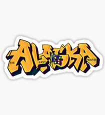 Alaska License Plate (Alaska Flag) by Graffiti Muscle Sticker