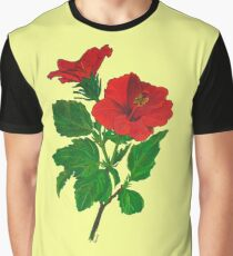 A Tropical Red Hibiscus Flower Isolated Graphic T-Shirt