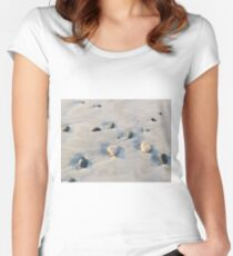 Pebbles on the sand Women's Fitted Scoop T-Shirt