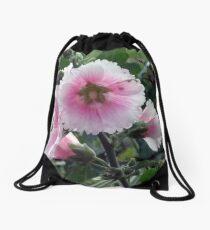 Late-Summer Garden Bloom in Pink Drawstring Bag