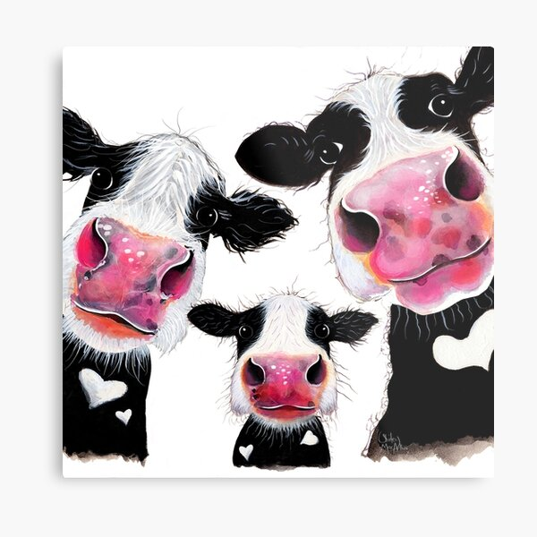 CoW PRiNT, ANiMaL PRiNT ' THe NoSeY FaMiLY ' BY SHiRLeY MacARTHuR Metal Print