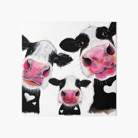 CoW PRiNT, ANiMaL PRiNT ' THe NoSeY FaMiLY ' BY SHiRLeY MacARTHuR Art Board Print