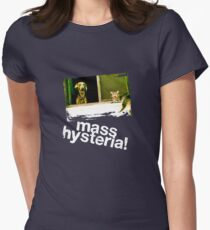 Dogs and cats living together. Mass hysteria! Women's Fitted T-Shirt