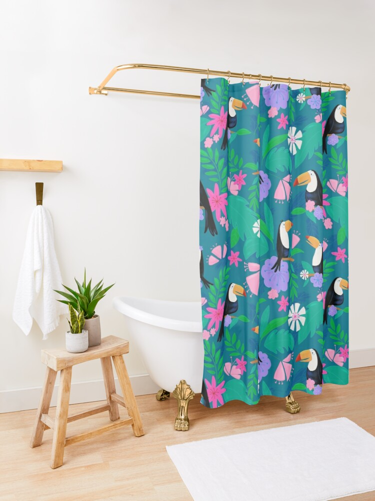 Alternate view of Tropical Toucan Jungle Shower Curtain