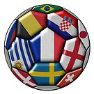 Russia 2018 - football ball with various flags by siloto