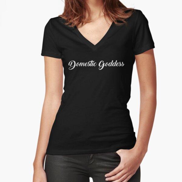 Domestic Goddess   White Fitted V-Neck T-Shirt