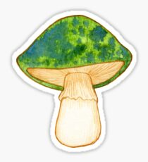 Green Watercolor Mushroom Sticker