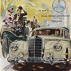 Carl and Bertha Benz encounter a 1950s Mercedes by edsimoneit
