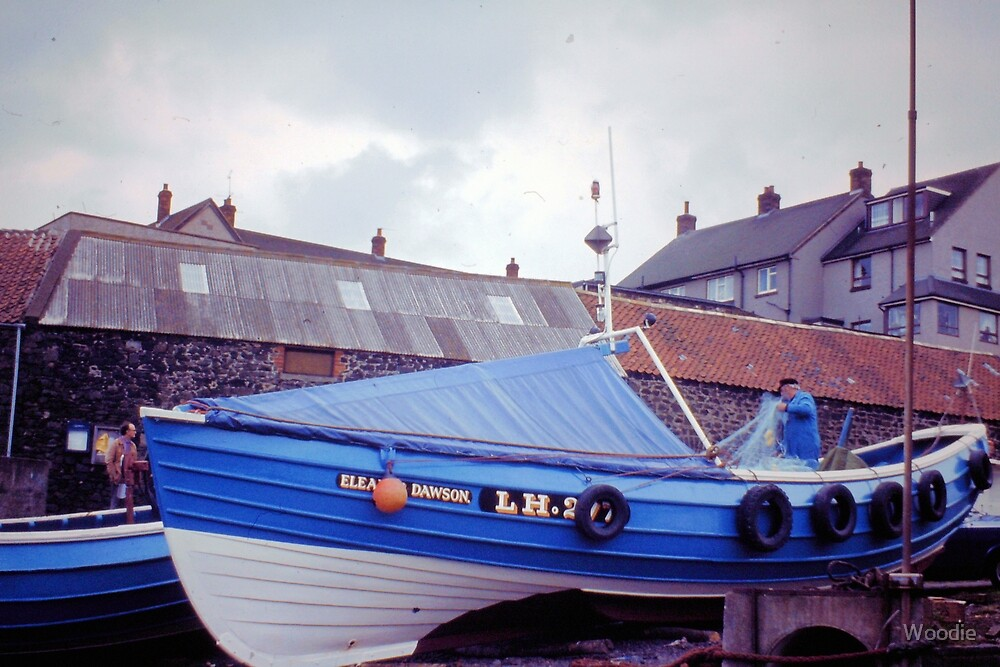 Coble at Craster 1980s by Woodie