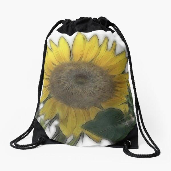 Fractalius Sunflower Drawstring Bag