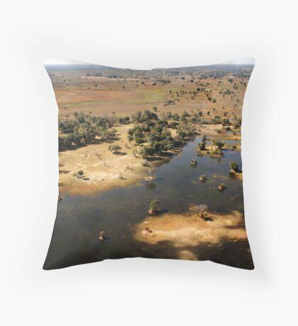 Bird's eye view of the Okavango Delta, Botswana Throw Pillow