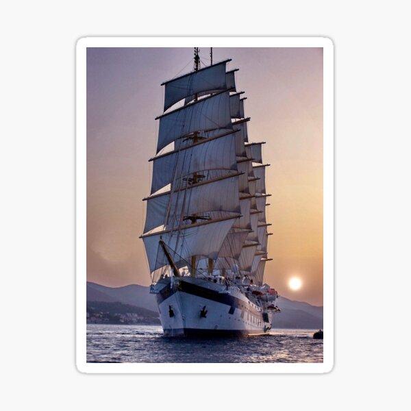 Royal Clipper at dusk  Sticker